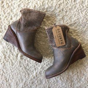 NWT Bed Stu Dutchess Leather Wedge Boot, Grey, 7